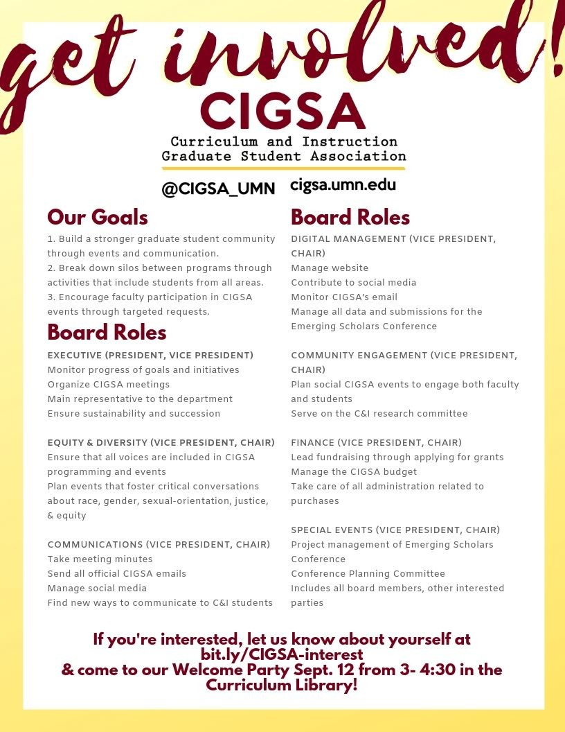 Flier detailing CIGSA goals and positions, available as pdf below.